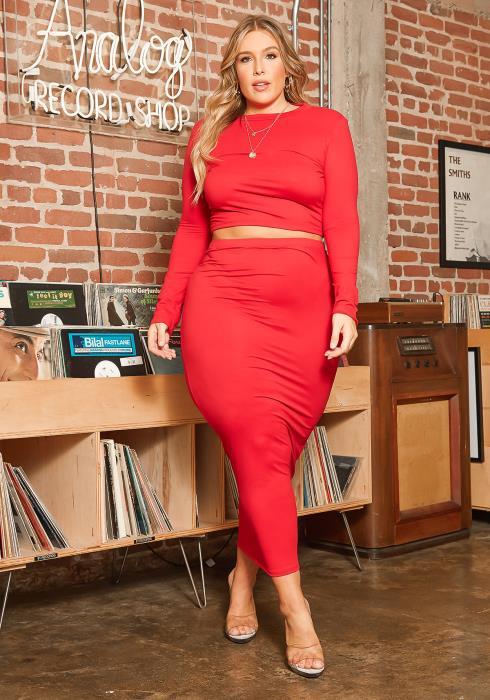 Asoph Curvy Women Matching Crop Top and Maxi Skirt Set