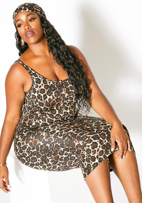Asoph Plus Size Wild Leopard Tank Dress and Matching Head Scarf Womens Set