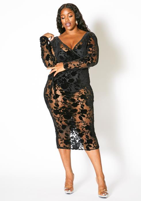 Asoph Plus Size Womens Velvet Rose Patterned Mesh Midi Dress
