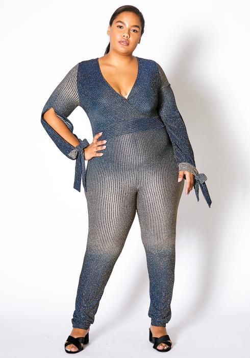 Asoph Plus Size Metallic Stripe Jumpsuit