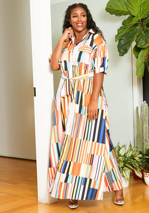 Asoph Plus Size Color Block Striped Patterned Womens Maxi Dress