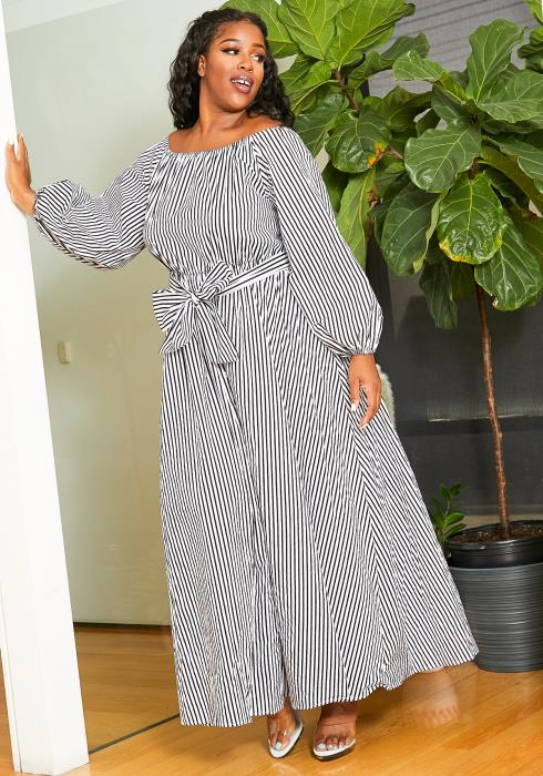 Asoph Curvy Womens Fully Striped Maxi Dress