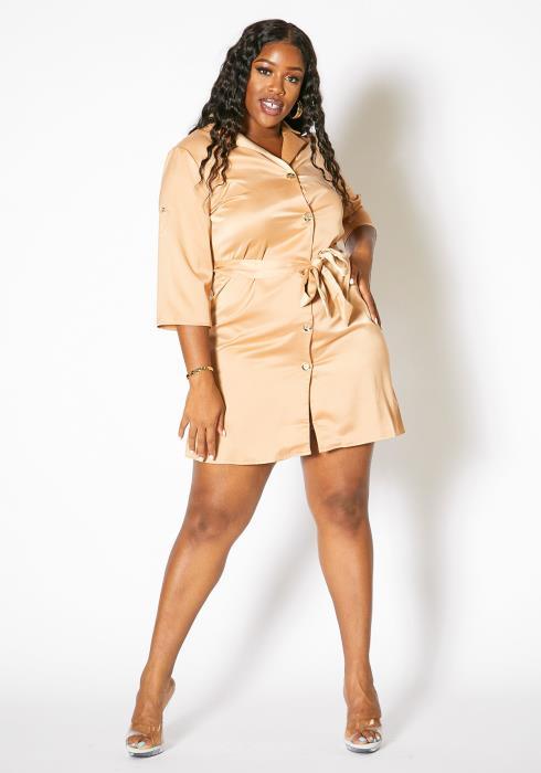 Asoph Plus Size Womens Satin Button Up Collared Mini Dress