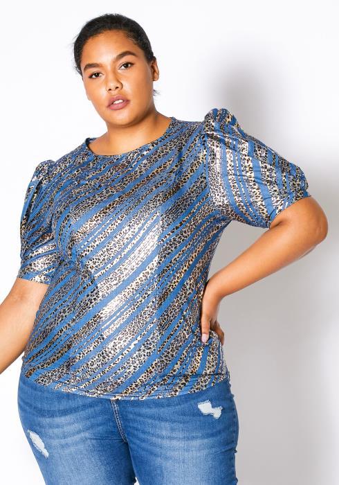 Asoph Curvy Womens Metallic Leopard Top