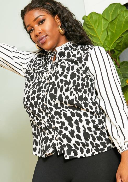 Asoph Plus Size Women Print Mixed Mock Blouse