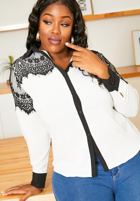 Asoph Plus Size Lace Shoulder Button Up Women Blouse
