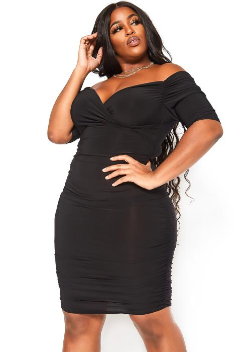 Asoph Plus Size Off Shoulder Ruched Bodycon Dress