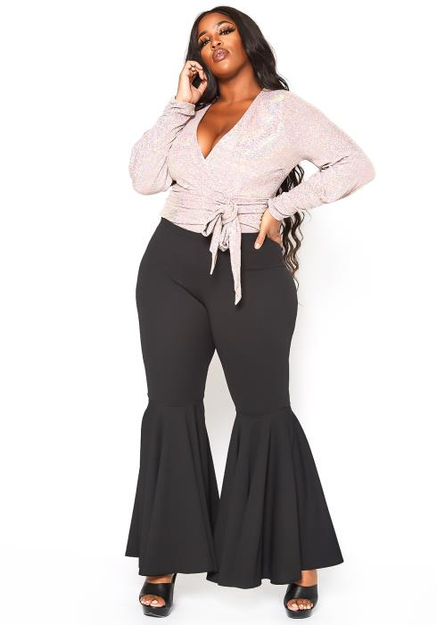 Asoph Plus Size Wide Bell Bottom Flared Pants