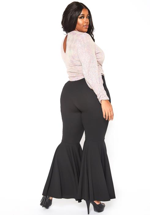 Asoph Curvy Womens Basic Bell Bottom Flared Pants
