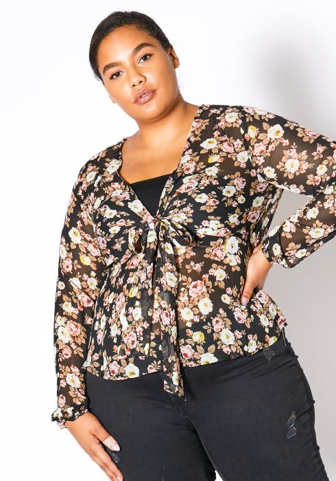 Asoph Plus Size Sheer Floral Tie Blouse