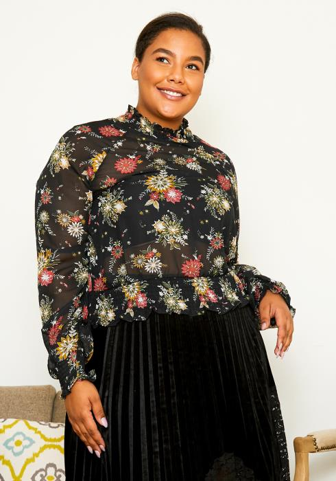 Asoph Curvy Womens Smocked Floral Blouse