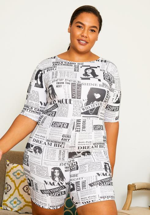 Asoph Plus Size News Article Printed Women Romper