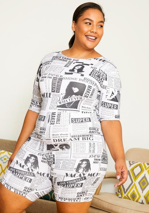 Asoph Plus Size News Article Printed Women Romper