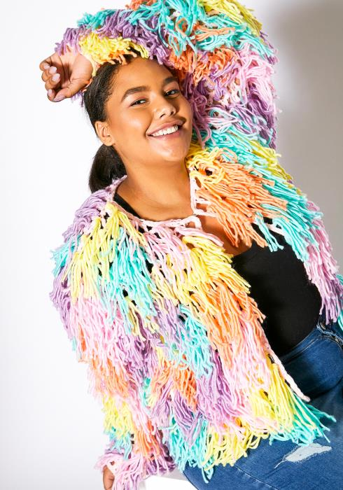 Asoph Plus Size Fuzzy Fringe Womens Coat