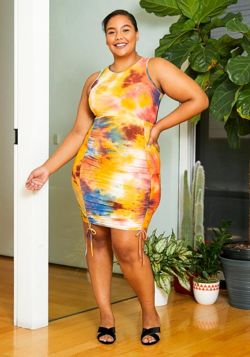 Asoph Plus Size Womens Sunset Tie Dye Drawstring Tank Dress