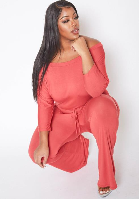 Asoph Plus Size Basic Flared Hem Jumpsuit