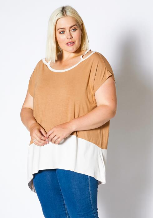 Asoph Plus Size Shoulder Cutout Tee