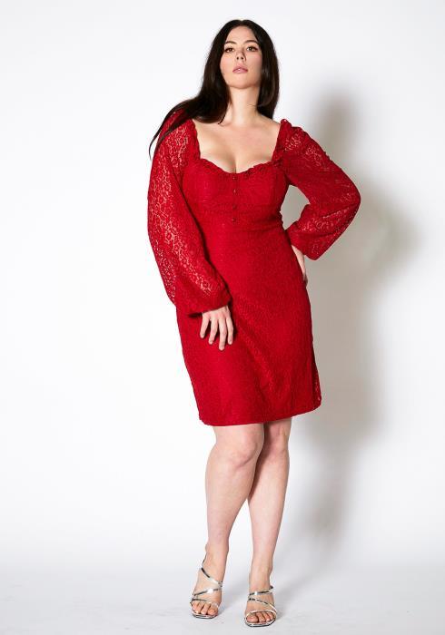 Asoph Plus Size Lace Trim Square Neck Dress