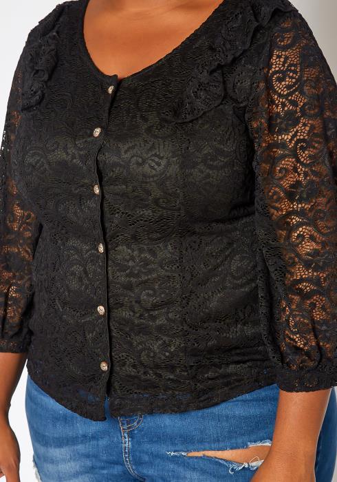 Asoph Plus Size Black Laced Button Front Blouse