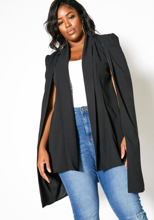 Asoph Plus Size Open Front Womens Cape Blazer
