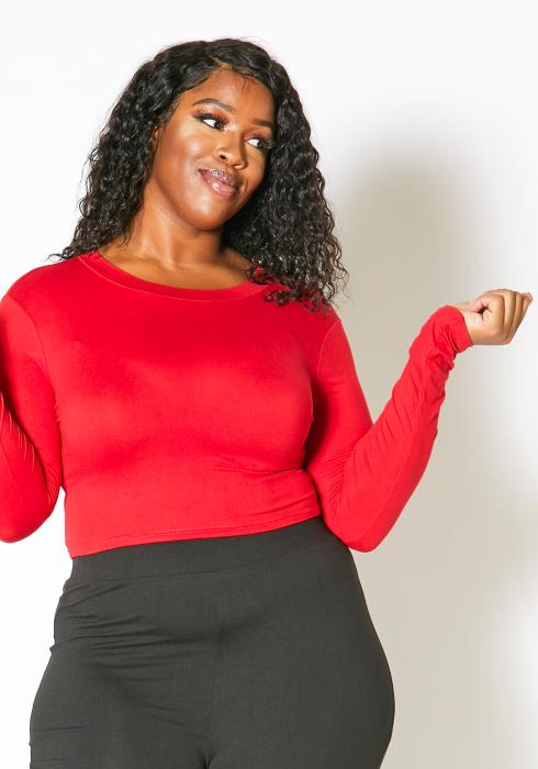 Asoph Plus Size Long Sleeve Fitted Solid Crop Top