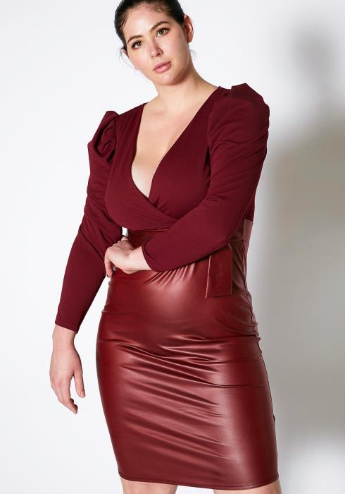 Asoph Plus Size PU Contrast Wrap Dress