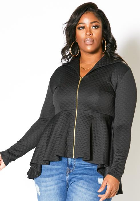 Asoph Plus Size Front Zip Up Quilted Women Peplum Blouse