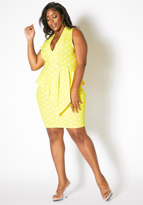 Asoph Plus Size Single Layered Polka Dot Sleeveless Women Dress