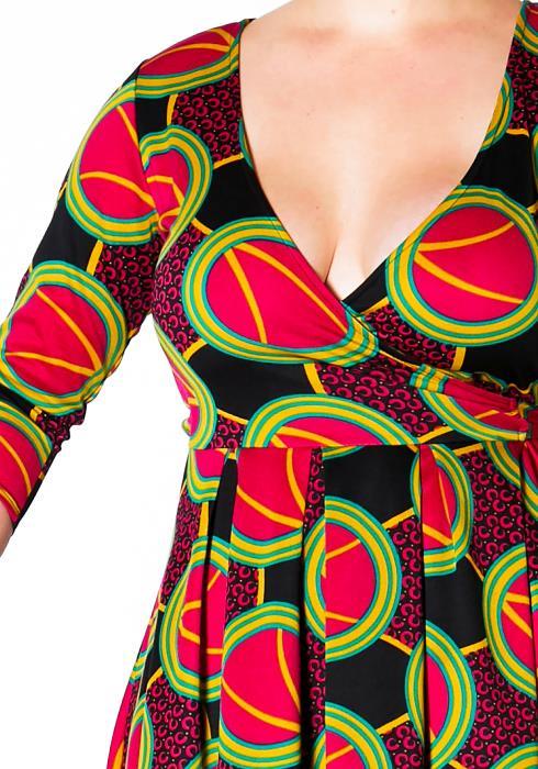Asoph Plus Size Multi Print Hi Lo Wrap Dress