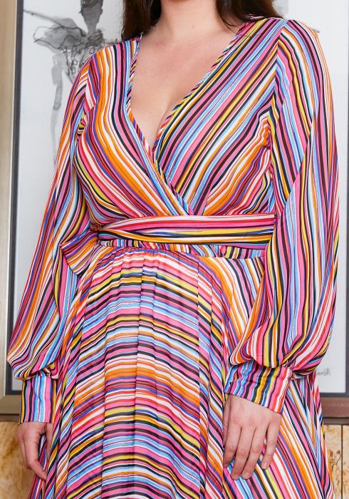 Asoph Multi Stripe Empire Maxi Dress