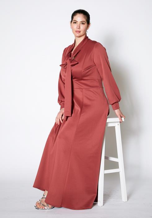 Asoph Plus Size Tie Neck Solid Maxi Dress