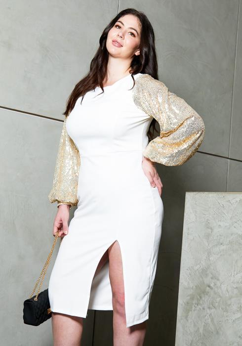 Asoph Plus Size Sequined Slit Hem Party Dress