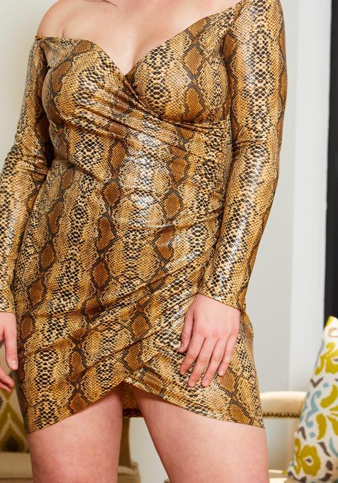 Asoph Plus Size Yellow Snake Wrap Dress