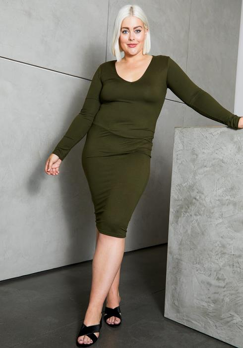 Asoph Curvy Womens Fall in Love Bodycon Long Sleeve Midi Dress