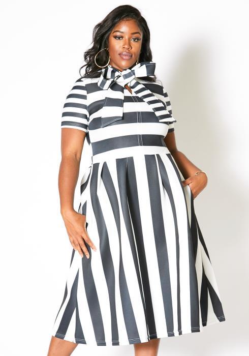 Asoph Plus Size Black White Stripe Barbie Doll Dress