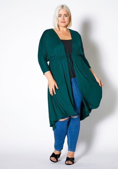 Asoph Plus Size Drawstring Daily Long Cardigan