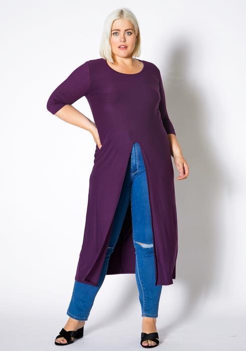 Asoph Plus Size Womens Long Single Slit Top