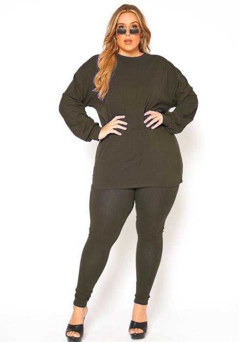 Asoph Plus Size Comfort Zone Long Sleeve and Legging Set