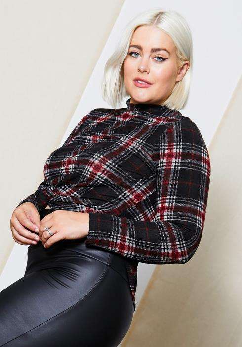 Asoph Plus Size Plaid Mock Neck Womens Top