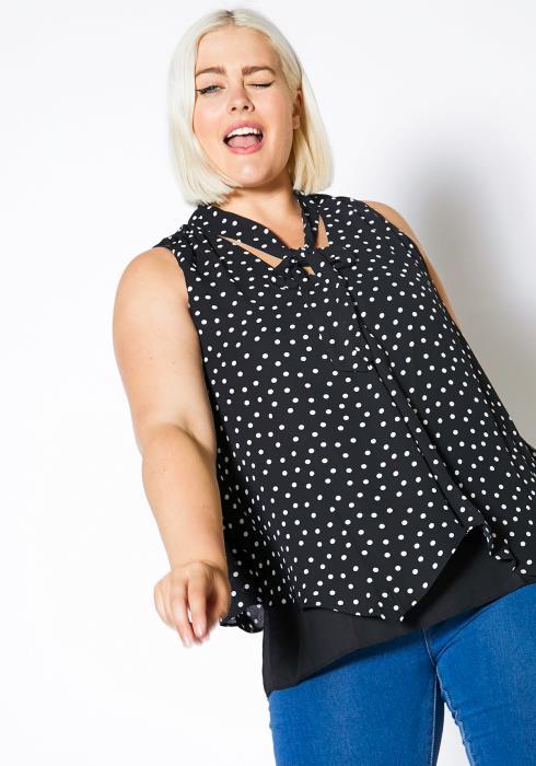 Asoph Plus Size Polka Dot Womens Loose Tank Blouse