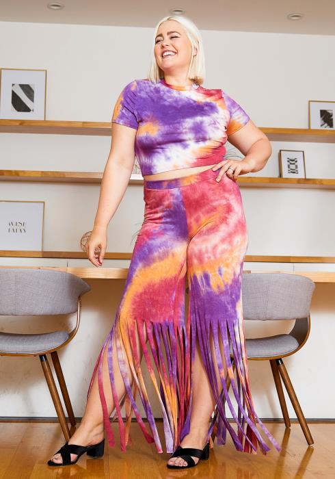 Asoph Plus Size Hippie Tie Dye Crop Tee and Fringe Pants Women Set