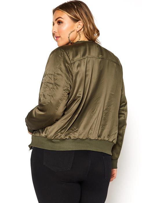 Asoph Plus Size Satin Zippered Womens Bomber Jacket