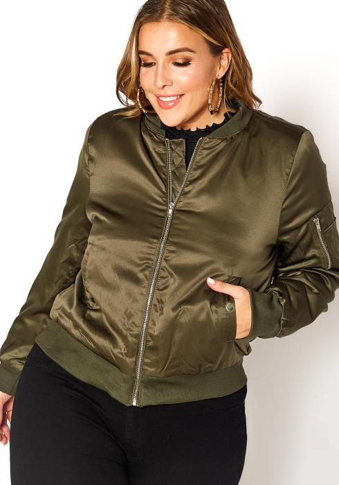 Asoph Plus Size Satin Zip Front Bomber Jacket