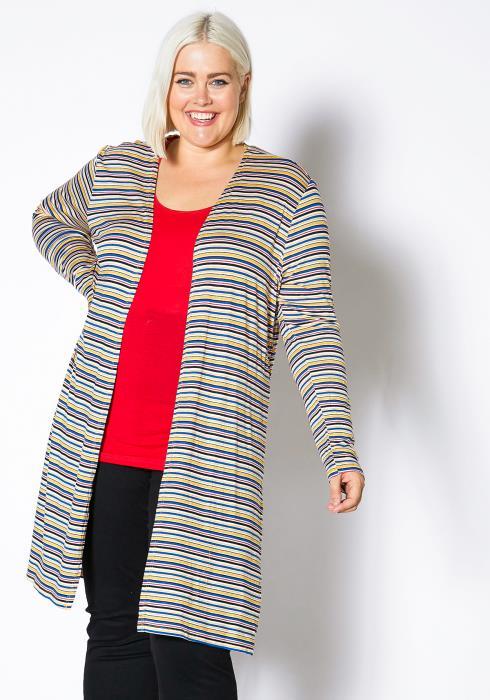 Asoph Plus Size Womens Mini Striped Side Slit Cardigan