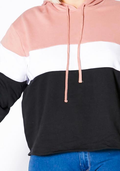 Asoph Plus Size Womens Color Block Hoodie Sweater