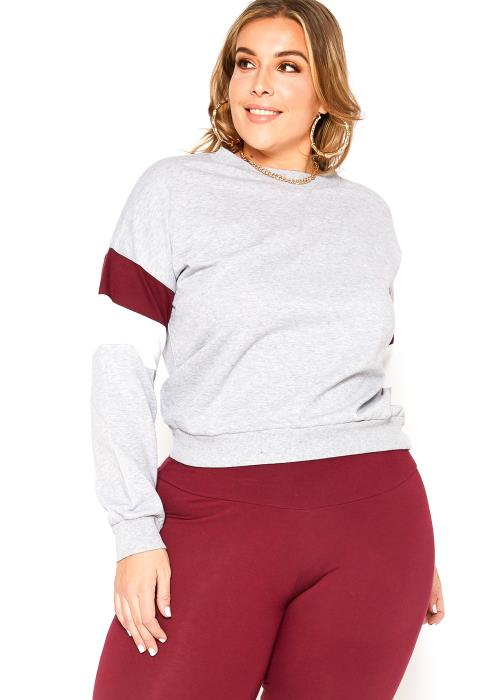 Asoph Plus Size Varsity Stripe Crew Neck Sweater