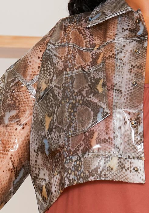 Asoph Plus Size Womens Vinyl Snakeskin Crop Jacket