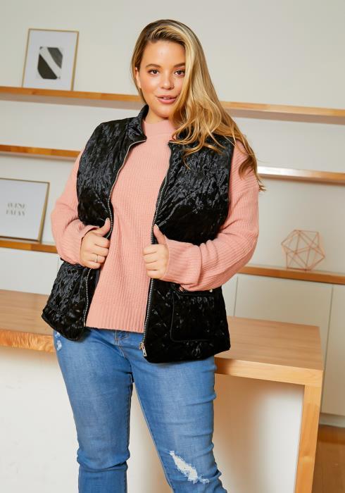Asoph Plus Size Womens Quilted Velvet Vest