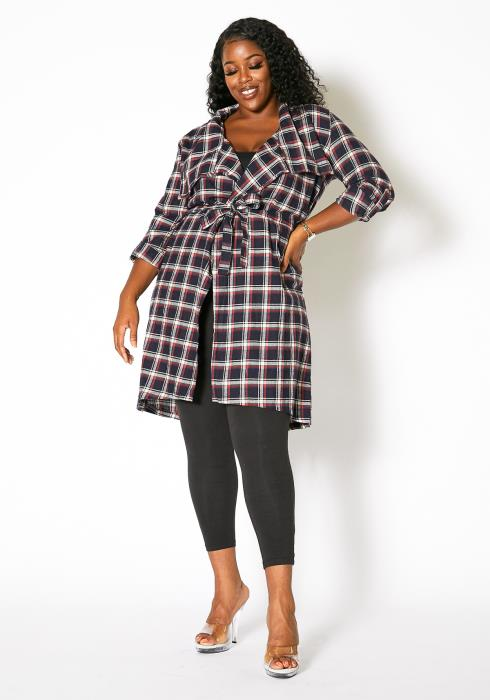 Asoph Plus Size Plaid Oversized Collar Jacket