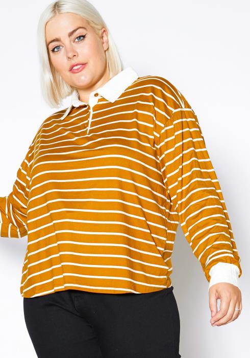 Asoph Plus Size Striped Collar Long Sleeve Womens Shirt